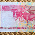 Namibia 100 dólares 1999 reverso