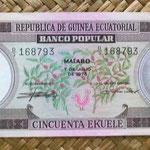 Guinea Ecuatorial 50 ekuele 1975 (155x64mm) anverso