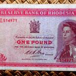 Rodesia 1 pound 1968 (148x81mm) anverso