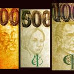 Chequia serie decada '90 marcas de agua 200-500-1000 korun