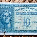 Grecia Islas Jónicas ocupac. italiana WWII  10 dracmas 1942 (80x50mm) anverso