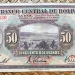 Bolivia 50 bolivianos 1928  (164x84mm) anverso