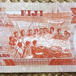 Islas Fiji 5 dollars 1983 (156x67mm) pk.83a reverso