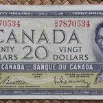 Canada 20 dollars 1954 (154x70mm) pk.80b anverso