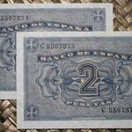 España 2 pesetas 1938 pk.109 pareja correlativa reversos