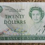 Nueva Zelanda 20 dollars 1985-89 (160x80mm) pk.173c anverso