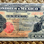México, 1 peso 1914, Banco de Londres y México (160x74mm) anverso