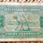 Sudan 50 piastras 1956 (125x70mm) pk.2B reverso
