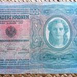 Imperio Austrohúngaro 100 coronas 1912 reverso (igual a anverso pero sin resello)