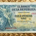 Colombia 10 pesos oro 1961 anverso