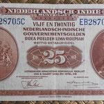 Indias Holandesas 25 gulden 1943 anverso