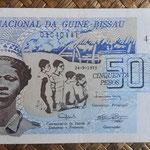 Guinea Bissau 50 pesos 1975 (140x70mm) pk.1a anverso