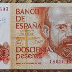 200 pesetas 1980 sin serie y firmado a mano por el Cajero D. Jesus Urdiola