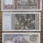 Belgica y Congo Belga francos Leopoldo II años '50 reversos