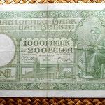 Bélgica 1000 francos-200 belgas 1943 reverso