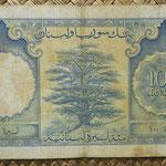 Libano 100 libras 1958 (170x94mm) pk.60a reverso