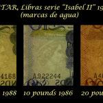 Gibraltar serie libras 1975-1988 Isabel II marcas de agua