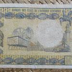 Gabón 5.000 francos 1974 (158x84mm) pk.4a reverso
