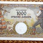 Serbia 1000 dinares 1942 reverso
