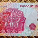 México 100 pesos 2010 Centenario de la Revolución reverso