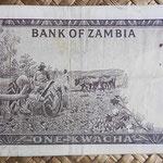 Zambia 1 kwacha 1969 (130x68mm) pk.10b reverso