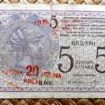 Reino de Serbia, Croacia y Eslovenia 5 dinares 20 coronas 1919 anverso