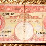 Malaya británica 10 dólares 1941 anverso