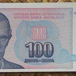 Yugoslavia 100 dinares 1994 (135x63mm) pk.139a anverso