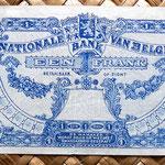Bélgica 1 franco 1920 (84x48mm) reverso