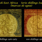 British East Africa shilings serie 1958-1963 Isabel II marcas de agua