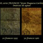 Luxemburgo serie francos Gran Duquesa Carlota años 50 s.XX marcas de agua