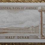 Jordania 0.5 dinar 1973 (140x70mm) pk.13c reverso