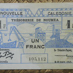 Nueva Caledonia 1 franco 1943 Bono -Tesoro de Noumea (114x70mm) pk.55a anverso