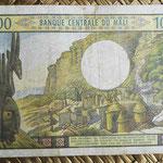 Mali 1000 francos 1970-84 (140x90mm) pk.13a reverso