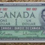 Canada 1 dollar 1967 (154x70mm) Conm. Centenary Canadian Confederation pk.84a anverso
