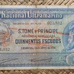 Santo Tomé y Príncipe 500 escudos 1958 sobreimpreso 1976 pk.47 (165x84mm) anverso