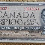Canada 100 dollars 1954 -Devil's Hair- (152x70mm) pk.72a anverso