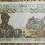 Mali 500 francos 1970-84 (129x85mm) pk.12a anverso