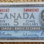 Canada 5 dollars 1954 (152x70mm) pk.77b anverso