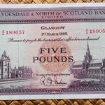 Escocia Clydesdale and North of Scotland Bank 5 libras 1960 anverso