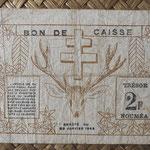 Nueva Caledonia 2 francos 1943 Bono -Tesoro de Noumea (114x70mm) pk.56a reverso