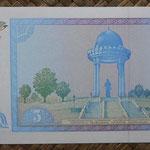 Uzbekistan 5 sum 1994 (144x68mm) pk.75a reverso