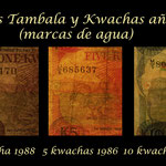 Malawi serie tambalas y kwachas años '70-'80 s.XX marcas de agua