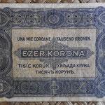 Hungria 1.000 coronas - resello 8 filler 1924 (135x78mm) pk.81b reverso