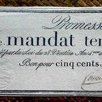 Francia Promesa de Mandato Territorial 500 francos 1796 (WPM pk. A86b) 260x110mm anverso