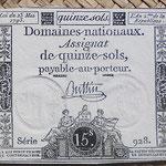 Francia 15 sols 1793 (67x78mm) pk.A69b uniface
