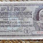 Ucrania ocupación alemana WWII 5 karbovanets 1942 anverso