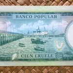 Guinea Ecuatorial 100 ekuele 1975 (162x68mm) reverso