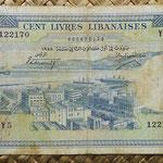 Libano 100 libras 1958 (170x94mm) pk.60a anverso