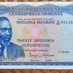 Kenia 20 shilingis 1973 (153x88mm) anverso